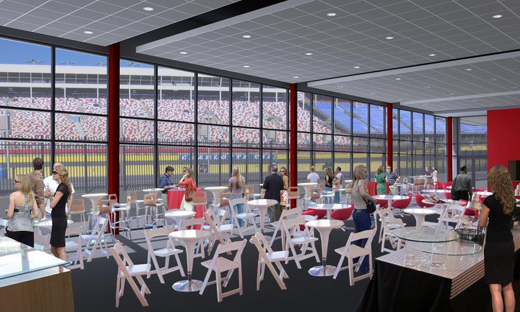 The 12,000-square-foot Champions Pavilion will overlook the pits from inside Turn 4.