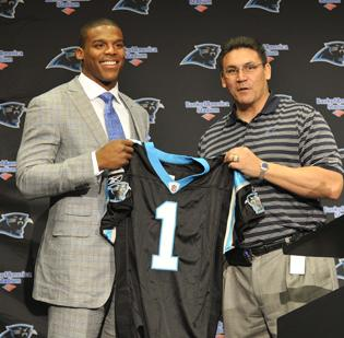 Cam Newton (left) and new Carolina Panthers head coach Ron Rivera