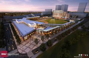 The Charlotte Knights provided new renderings for its proposed uptown baseball stadium Tuesday, including this view of the ballpark's entrance.