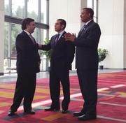Los Angeles Mayor Antonio Villaraigosa (center) made his first visit to the Queen City as pending chair of the Democratic National Convention in early April. Here, he meets with Charlotte Mayor Anthony Foxx (right) and DNC Committee Chief Executive Stephen Kerrigan at the Charlotte Convention Center.