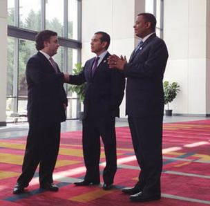 Los Angeles Mayor Antonio Villaraigosa (center) made his first visit to the Queen City as pending chair of the Democratic National Convention this week. Here, he meets with Charlotte Mayor Anthony Foxx (right) and DNC Committee Chief Executive Stephen Kerrigan at the Charlotte Convention Center.