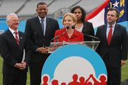Those on hand for January's announcement at Bank of America Stadium included, from left, Concord Mayor Scott Padgett; Charlotte Mayor Anthony Foxx; U.S. Rep. Debbie Wasserman Schultz, chair of the Democratic National Committee; local Obama campaign volunteer Leah Hill; and Stephen Kerrigan, national convention chief executive.