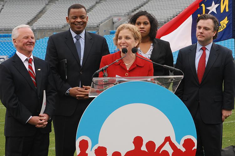Those on hand for Tuesday's announcement at Bank of America Stadium included, from left, Concord Mayor Scott Padgett; Charlotte Mayor Anthony Foxx; U.S. Rep.  Debbie Wasserman Schultz, chair of the Democratic National Committee; local Obama campaign volunteer Leah Hill; and Stephen Kerrigan, national convention chief executive.