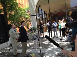 Charlotte in 2012 Host Committee Executive Director Dan Murrey and Michael Smith, president and chief executive at Charlotte Center City Partners, spoke to reporters June 26 on moving CarolinaFest 2012 to uptown from the Charlotte Motor Speedway.