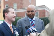 Presbyterian's Mark Billings (left) and Fred Whitfield, team president for the Charlotte Bobcats, discuss details of the partnership between their two organizations with local media.