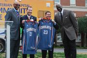 Mark Billings and Carl Armato were presented with Charlotte Bobcats jerseys at a press conference detailing the partnership between Presbyterian Healthcare, Novant Health and the Charlotte Bobcats. Pictured (from left to right) are Bobcats President Fred Whitfield, Billing, Armato, and Michael Jordan, team owner.