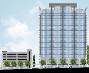 Novare Group, Grubb Properties and Batson-Cook Development Co. are planning SkyHouse Charlotte uptown. This is an illustration of SkyHouse Midtown in Atlanta, which broke ground in early 2012.