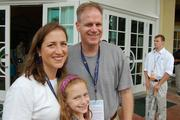 A family of delegates: Natalie Tennant, who is West Virginia secretary of state; her husband, state Sen. Erik Wells; and their 10-year-old daughter; Delaney Wells. They were among the first to arrive at the party Sunday at the Daniel Stowe Botanical Garden.