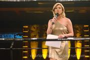 """Molly Grantham of WBTV served as announcer during the """"Fund-A-Family"""" charity moment."""
