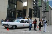 Ecto-1, the Ghostbusters car, was on display outside the Charlotte Convention Center.