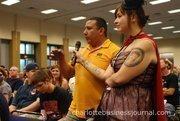 Audience members ask questions of Stan Lee.