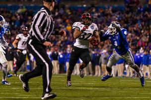 Cincinnati Bearcats running back George Winn races toward the end zone on long touchdown run during the Belk Bowl vs. the Duke Blue Devils at Bank of America Stadium in Charlotte on Dec. 27, 2012. Cincinnati won 48-34.