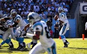 Carolina Panthers quarterback Cam Newton drops back to pass during an Oct. 21, 2012, game vs. the Dalllas Cowboys at  Bank of America Stadium in Charlotte.