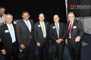 From left to right: Knights General Manager Dan Rajkowski, Charlotte Mayor Anthony Foxx, BB&T Charlotte Metro President Wesley Beckner, Chicago White Sox owner Jerry Reinsdorf and Charlotte Knights owner Don Beaver.