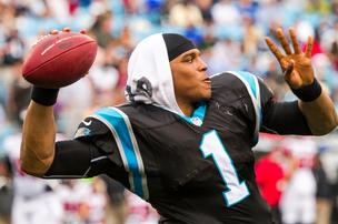 Carolina Panthers quarterback Cam Newton warms up before the second half of a Dec. 9, 2012, game vs. the Atlanta Falcons at Bank of America Stadium in Charlotte.
