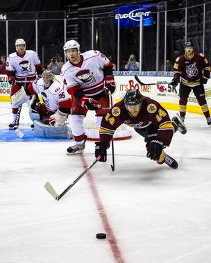 The Charlotte Checkers battle the Chicago Wolves during a Nov. 4, 2012 game at Time Warner Cable Arena  in Charlotte