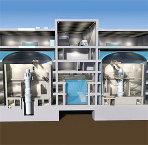 Pictured is a conceptual drawing of an underground containment structure housing two B&W mPower reactor modules.