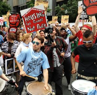 Protesters filled the street outside Bank of America Corp.'s annual shareholders meeting in uptown Charlotte in May.