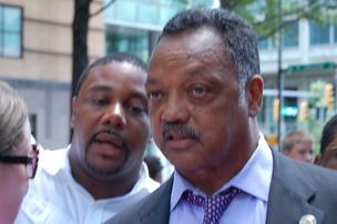 The Rev. Jesse Jackson was spotted outside an uptown Charlotte hotel on Sunday.