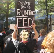 A popular accessory at the Occupy movements are Guy Fawkes masks, a reference to the comic book and movie V for Vendetta, which featured a costumed revolutionary who is fighting an oppressive U.K. government.