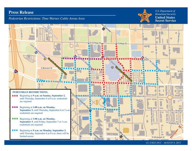 This map shows the pedestrian restrictions around Time Warner Cable Arena during the DNC. Click the image to enlarge.