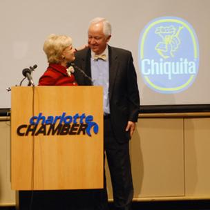 N.C. Gov. Bev Perdue shares a moment with Chiquita CEO Fernando Aguirre at Tuesday afternoon's announcement at the Charlotte Chamber.
