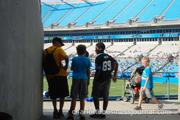 Panthers fans catch some shade at Fan Fest.