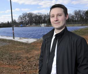 Brian Adams, founder and CEO of A TOO D Solar, at his startup's Lynwood Solar installation near Kings Mountain.
