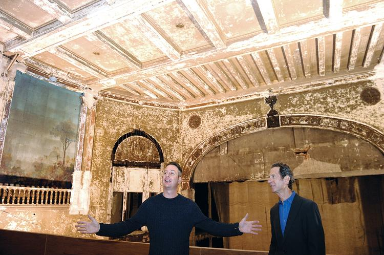Noah (left) and Rick Lazes toured the theater site this week.