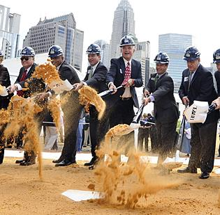 Local politicians, civic boosters and representatives of the Charlotte Knights joined in a Sept. 14 groundbreaking for the Third Ward baseball stadium.