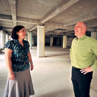 Sara Garces and Dan Roselli are driving the remake of Packard Place. They see the 90,000-square-foot building as the future nexus of entrepreneurship here.