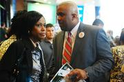 David Howard (right) of Charlotte City Council at the DNC kick-off event in September.