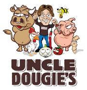 Uncle Dougie's founder Doug Tomek and some of his cast of animated characters seen on Uncle Dougie's product labels.