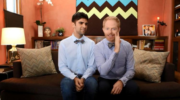 Actor Jesse Tyler Ferguson (right) and lawyer Justin Mikita are launching a new bow tie line to help in the fight for civil rights.