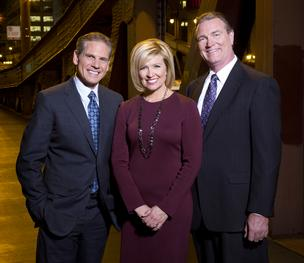 NBC-owned WMAQ-Channel 5 lead news co-anchors Rob Stafford (left), Allison Rosati (center) and chief meteorologist Brant Miller have been reporting on Sandy and its widespread impact.