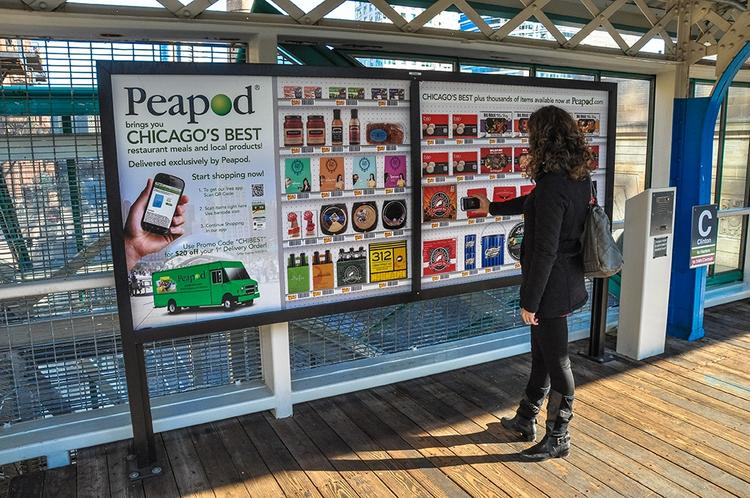Peapod is familiarizing customers with its mobile app via billboards at rapid transit stops around Chicago.