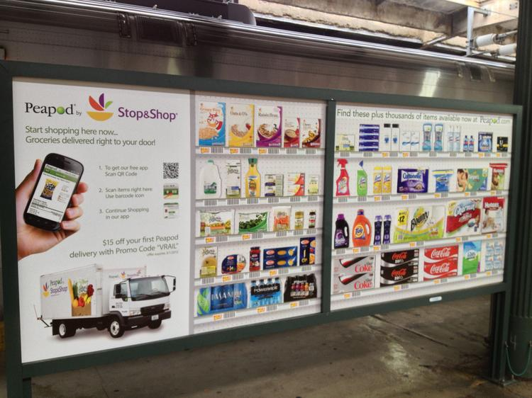 Commuters can scan and  shop for groceries with their smartphones at billboards using Peapod.com.