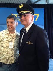 United Captain Jim Starley (right) flew the historic first commercial flight of United's Boeing 787 Dreamliner.