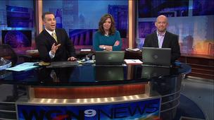 """WGN Morning News"" anchors Larry Potash (left) and Robin Baumgarten (center) spoke too soon this morning during a news report."