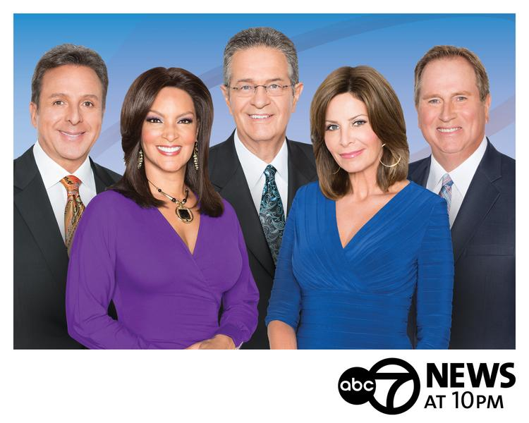WLS-Channel 7's 10 p.m news anchor team includes (left to right): Mark Giangreco, Cheryl Burton, Ron Magers, Kathy Brock and Jerry Taft.
