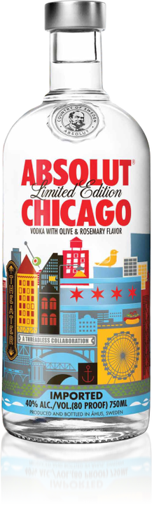 Absolut Chicago tastes like rosemary, mint and fresh green olives and features a Threadless-designed stylized cityscape on the bottle.