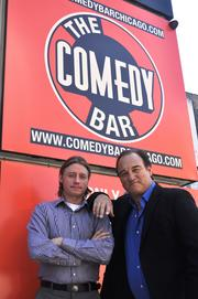 Kyle Lane (left) and Jim Belushi plan to offer a mix of stand-up comedy, improv and live bands.