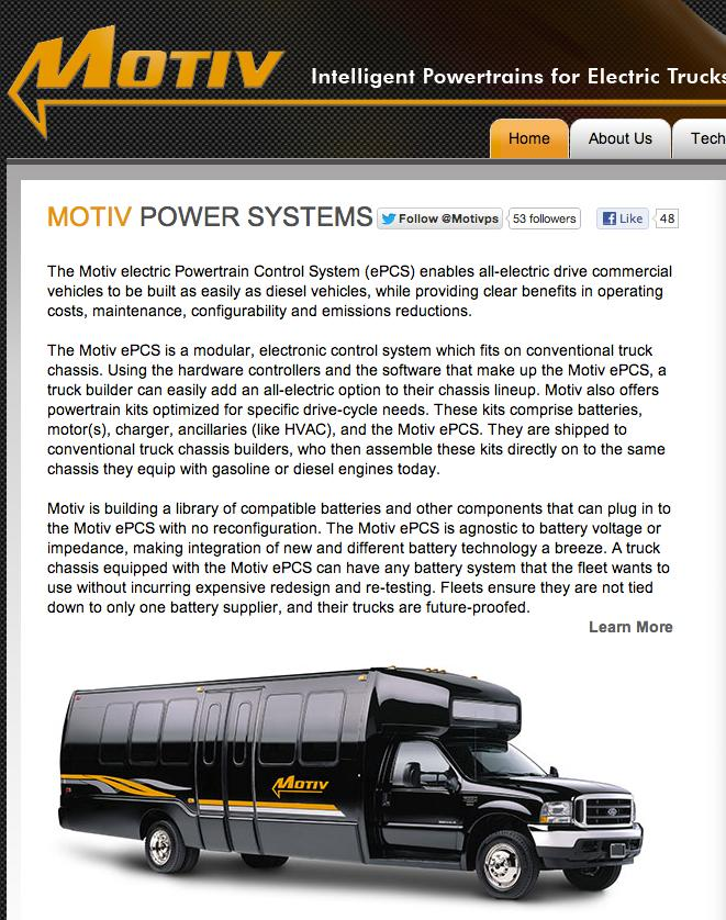 Motiv Power Systems is a startup based in Foster City, CA, that specializes in electrifying heavy-duty trucks and buses.