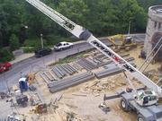Contractors maintained access to the art museum along its main driveway during the renovation project.