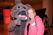 Lelia Keefe Kramer and the St. Ursula Academy bulldog.