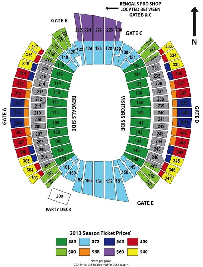 Here's a seating chart of the Bengals' stadium with prices.