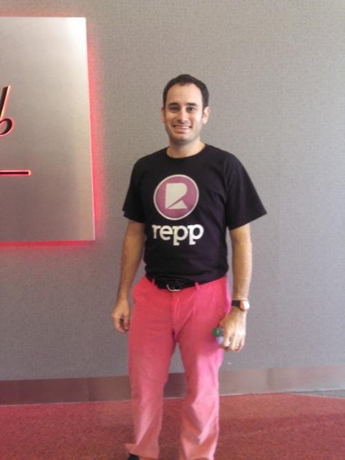 Michael Bergman, CEO of Repp, was one of the Brandery tenants that pitched the crowd at Demo Day. His pink pants helped make it easier for investors to find him after the presentation.