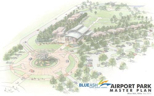 A drawing of the Blue Ash Airport Park Master Plan, now named Blue Ash Summit Park.