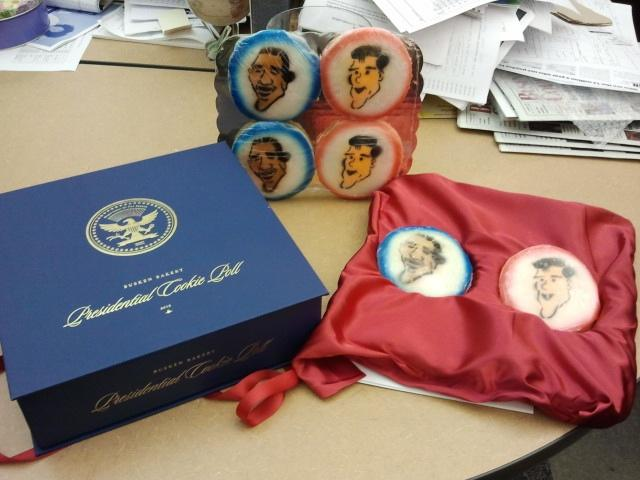 Here's a look at the Busken Bakery Presidential Cookie Poll media kit, complete with cookie versions of Mitt Romney and Barack Obama.