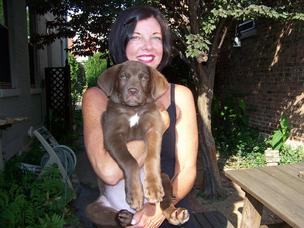 Carole Feeny and her foster-turned-adopted dog Buster.